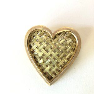 Jewelry - Heart Shaped Vintage Gold Pin with Lattice Stones